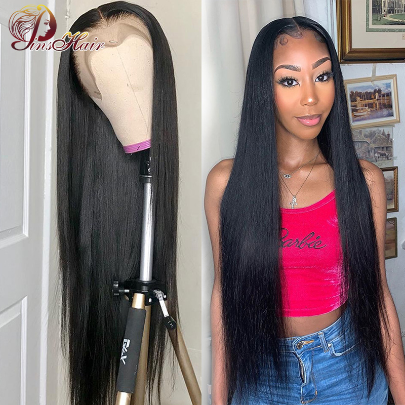 Brazilian Straight Lace Front Human Hair Wigs Pre Plucked 13*4 Lace Frontal Wigs With Baby Hair Natural Color Pinshair Non-remy