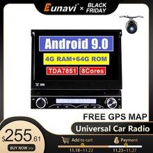 Eunavi 4G RAM 1 Din Android 9.0 Octa 8 CoreรถDVDสำหรับUniversal GPSนำทางวิทยุสเตอริโอWIFI MP3เสียงUSB SWC