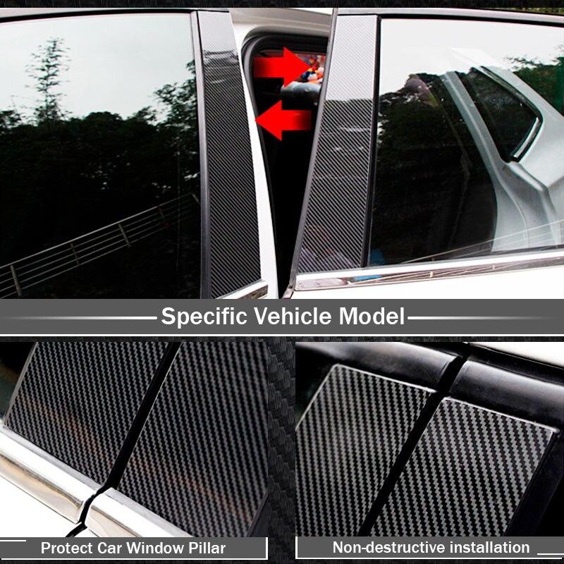 Pegatinas de fibra de carbono para ventana de coche, b-pilares, cubiertas de molduras, diseño de coche para Toyota RAV4 Corolla Camry 6/7/8, accesorios exteriores