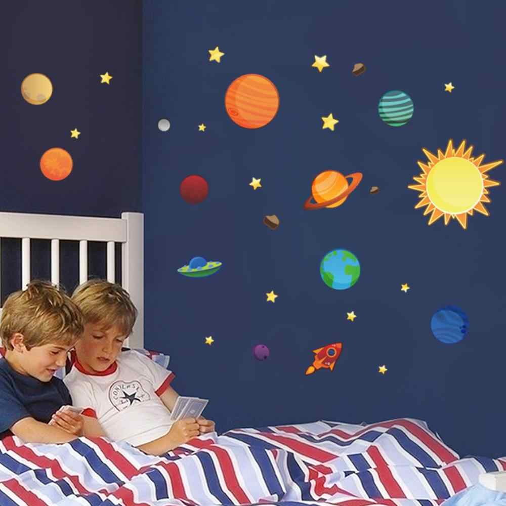 Solar Galaxy Wall Sticker Planets for Kids Room Decoration Removable PVC Wall-Sticker Nursery Children's Play Room Bedroom Decor