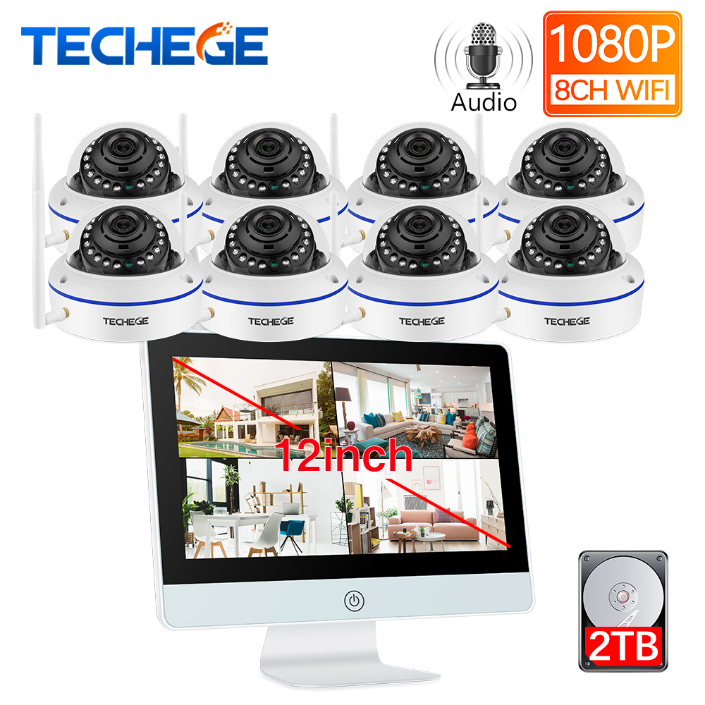 Techege 8CH Wireless NVR Kit 12inch LCD NVR 1080P HD Vandalproof Security IP Camera WIFI CCTV System Motion Detection Auto Pair