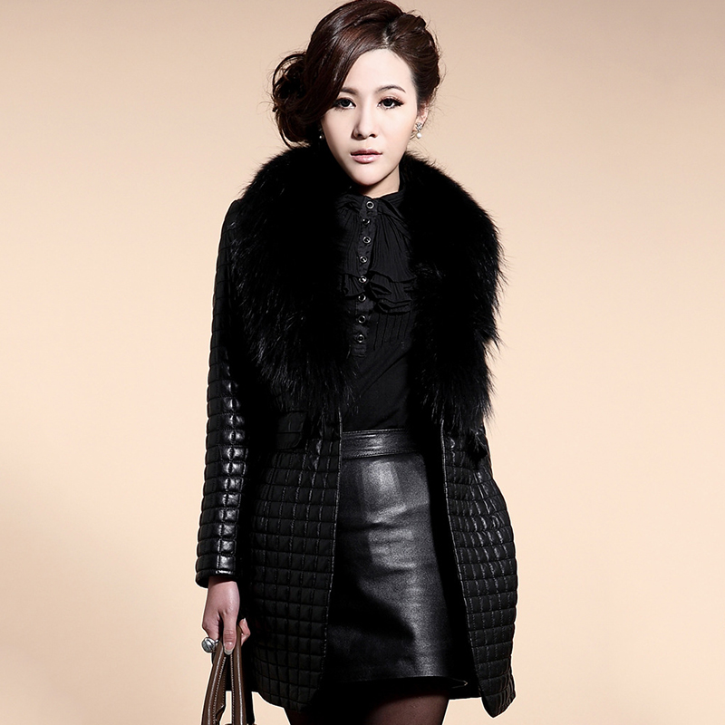 2020 Winter Women Thick Long Leather Jacket Plus Size With Fur Collar Slim Solid Office Ladies Coat Outwear Chaqueta Mujer Cuero