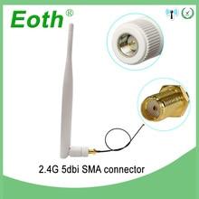2,4 Ghz антенна Wifi 5dbi SMA разъем Белый 2,4 ghz антенна всенаправленный маршрутизатор 2,4g антенна+ RP-SMA штыревой кабель