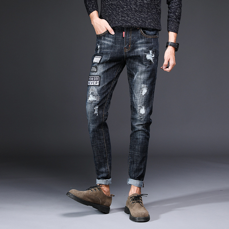 2018 New Style Elasticity Fashion Jeans Men's Slim Fit Youth Men's Retro Trend Cool With Holes Pants