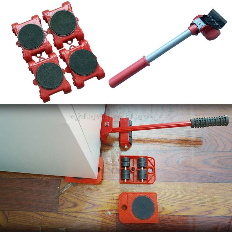 Furniture Mover Tool Transport Lifter Heavy Stuffs Moving 4 Wheeled Roller with 1 Bar Set D23 19 Dropship-5