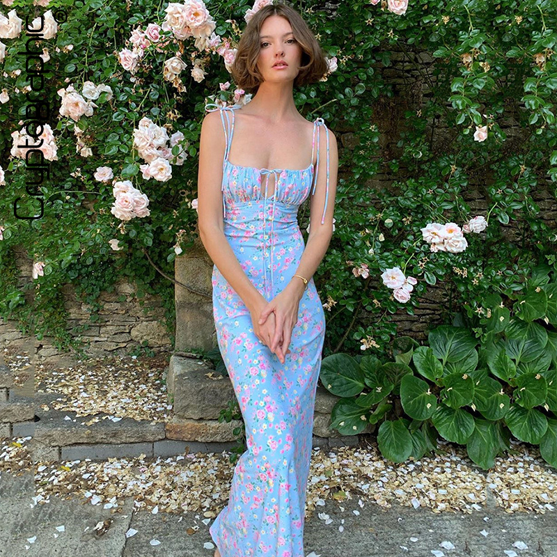 Cryptographic Floral Print Cottagecore Elegant Sleeveless Maxi Sundress Sexy Backless Women Party Club Tie Front Dress Holiday 1