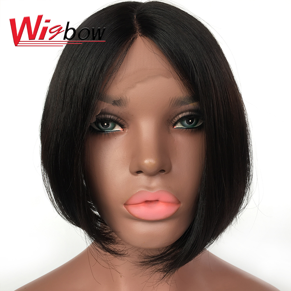 Short Human Hair Wigs For Black Women Brazilian Human Hair Straight Short Bob Lace Front Wigs Human Hair With Free Shipping