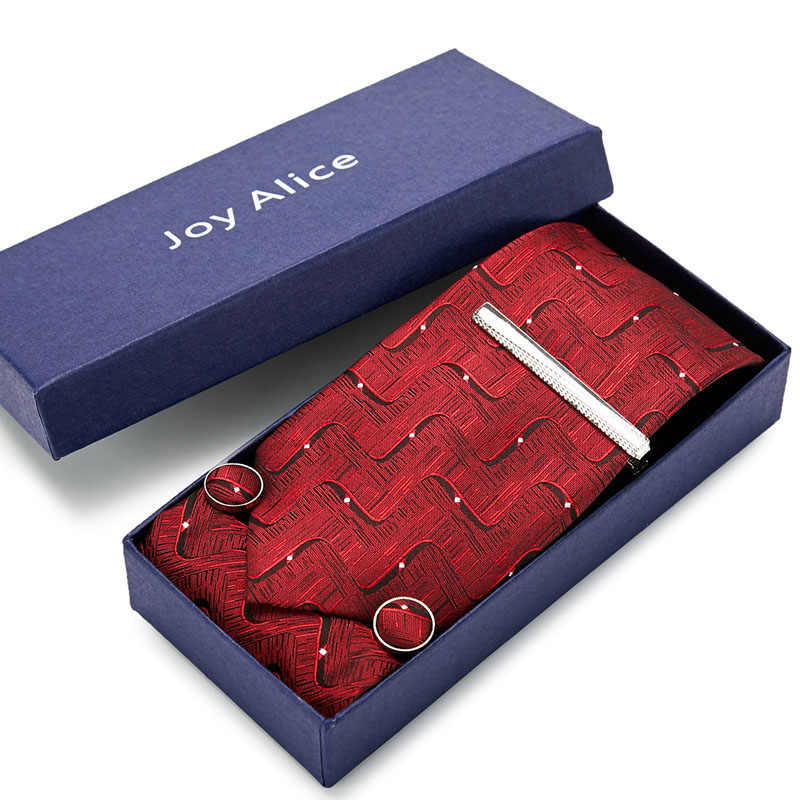 Caixa de presente embalagem masculina marca de luxo gravata bolso quadrado casamento masculino pescoço laços de seda conjunto lenço abotoaduras & gravata clipes