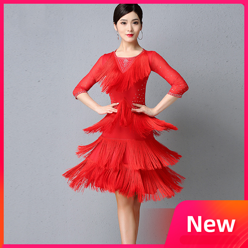 Latin Dance Professional Competition Performance Dresses Female Sexy Fringe Skirt Adult Rumba/Cha Cha Dancing Outfit DQL2825