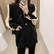 Women Wear Fall 2019 New Chiffon Sleeve Colour-Colour-Coloured Splicing Mid-long Suit Woman Handsome Profile Coat Notched Suit шапка wear colour wear colour we019cuzrk89