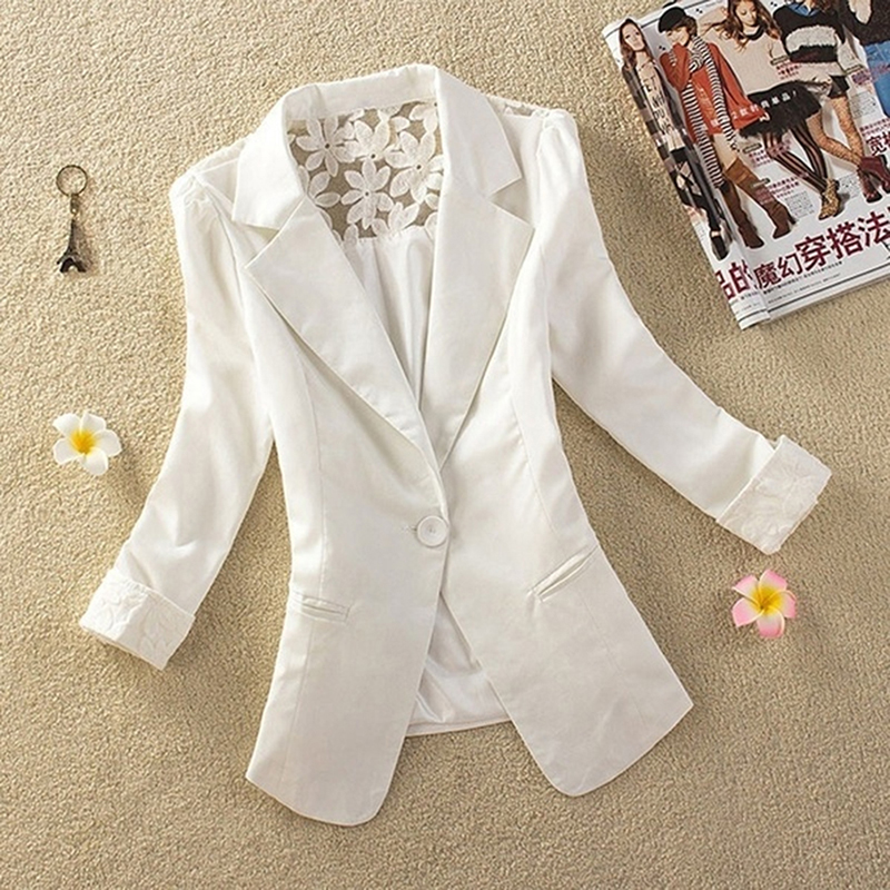 1PC Sexy Women Long Sleeve Lace Crochet Blazer Small Blazer Patchwork