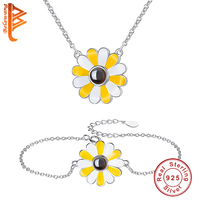 BELAWANG Simple Daisy Jewelry Sets & More For Women Wedding 100 language i love you Jewelry Christmas Gift