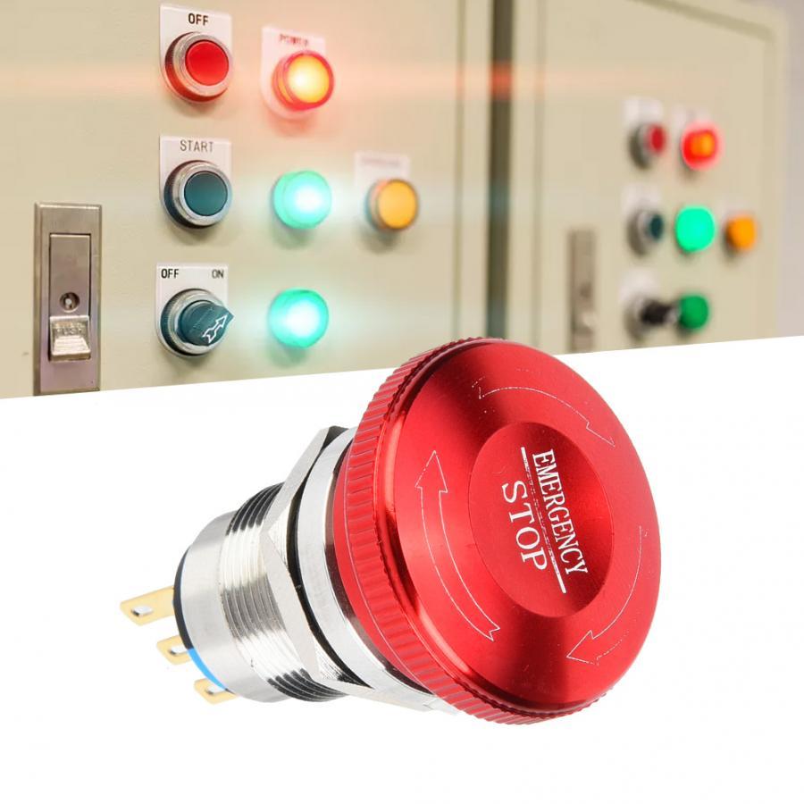 20 Pcs 19mm Metal Emergency Push Button switch Waterproof 1 NO 1 NC Self Lock Rotate Button switch IP65 IK08 440V 10A