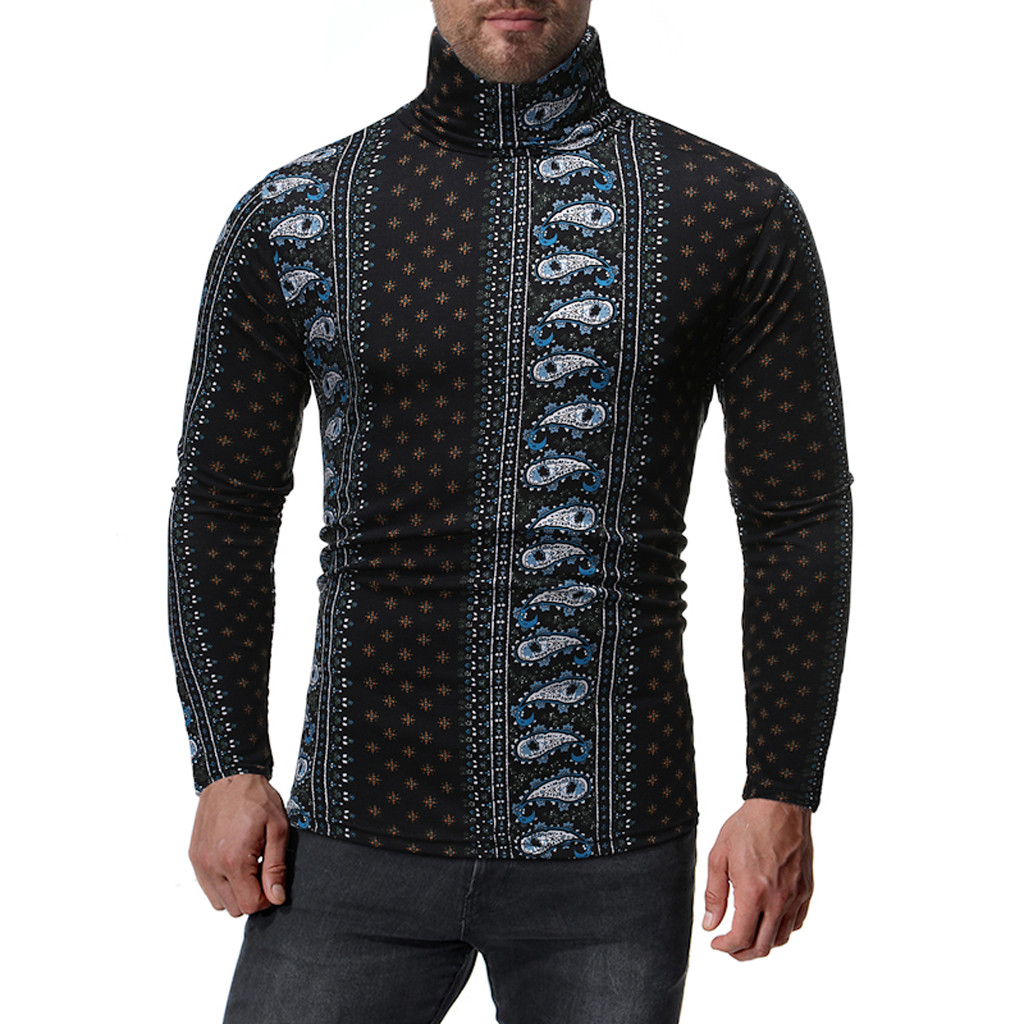 Womail Close-fitting Turtle Neck Sweater Men Vintage Print Long Sleeve Sweater Men Casual Long Sleeves Winter Pullover Mens