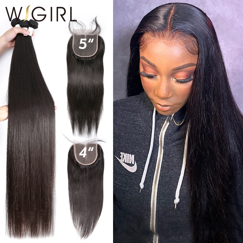 Wigirl Straight 28 30 32 40 Inch 3 4 Brazilian Hair Weave Bundles With 4X4 and 5x5 Lace Closure Remy Human Hair Weaves
