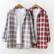 Autumn New Loose Korean Version Wild Female shirts Fashion Long-sleeved Plaid Blouse Women Bottoming Tops