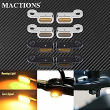 オートバイ12v ledミニターンシグナルインジケータでランニングライトeマークハーレーツーリングストリートグライド14 20ソフテイル16 17