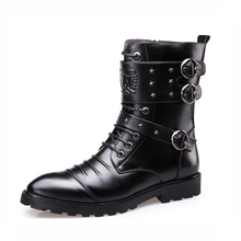 Men's New Fashion Pu Leather Cowboy Boots Med Heel Keep Warm Motorcycle Boots Casual High Quality Mens Boots Zapatillas Hombre