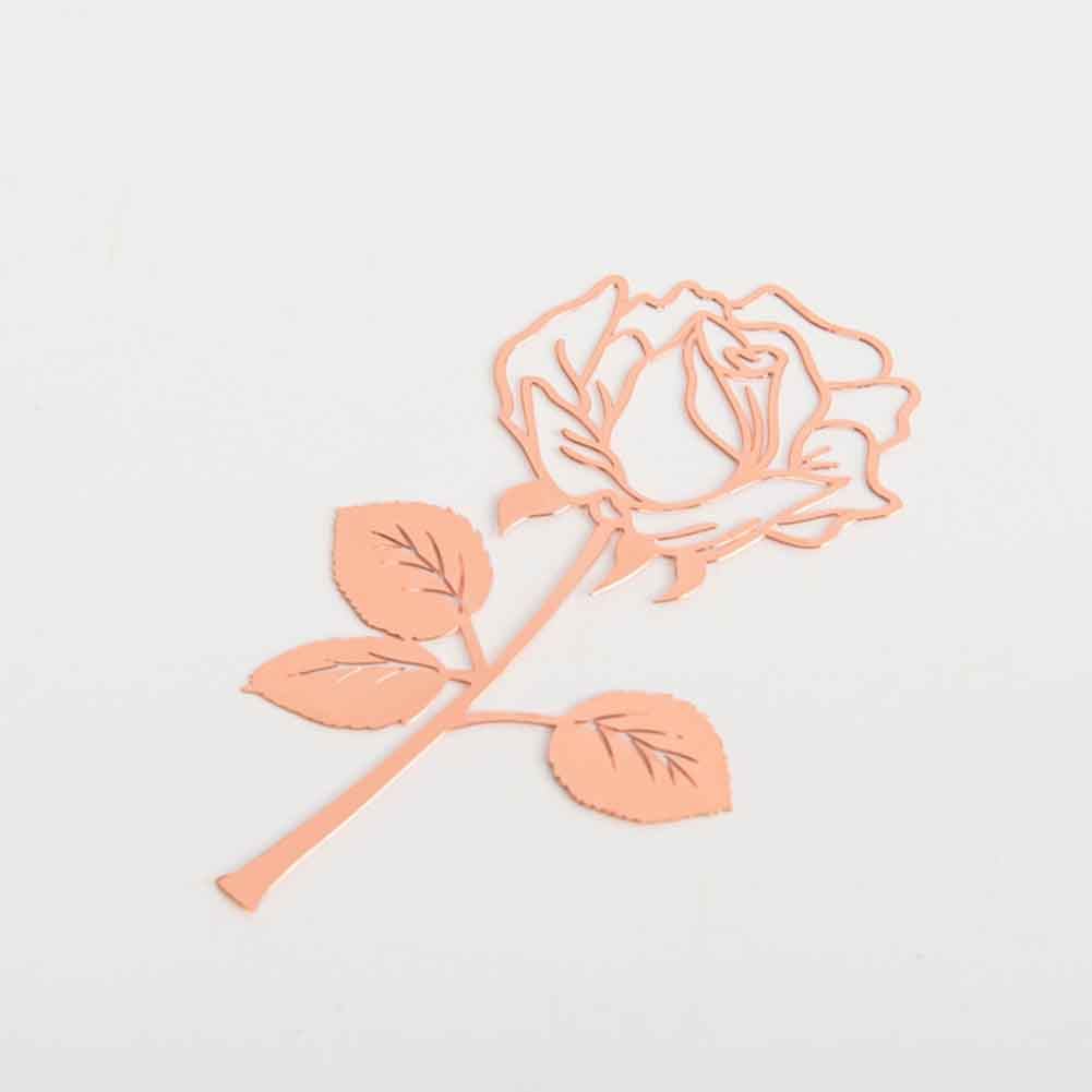 Electroplated For Books Paper Exquisite Clips Student Stationery Gift Office Supplies School Rose Flower Portable Metal Bookmark