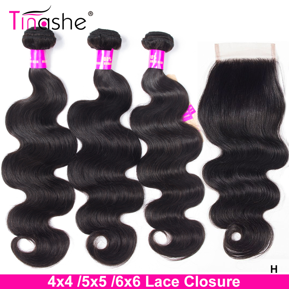 Tinashe-mechones de pelo ondulado con cierre 5x5 6x6, mechones de pelo humano brasileño Remy, 3 mechones con cierre M