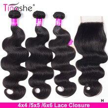 Tissage en lot Body Wave brésilien-Tinashe, cheveux naturels Remy, 5x5 6x6, extension capillaire avec closure, lot de 3