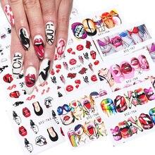 9 pçs sexy menina lábios slider decalques de água etiqueta do prego transferência de água tatuagem envolve adesivo ponta manicure decoração JISTZ756 765
