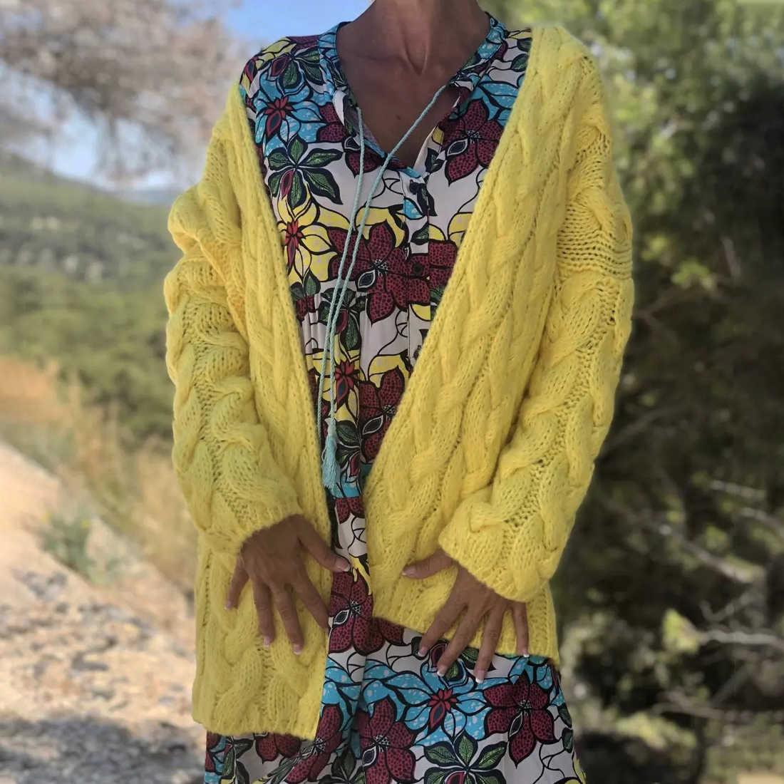 LASPERAL 여성 솔리드 컬러 카디건 가을 겨울 긴 소매 캐주얼 루스 코트 트위스트 니트 스웨터 카디건 Femme 겉옷