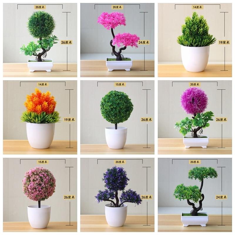 39 видов, зеленый, розовый, фиолетовый, оранжевый искусственный цветок, маленькое дерево в горшке, бонсай, украшение для дома, спальни, рабоче...