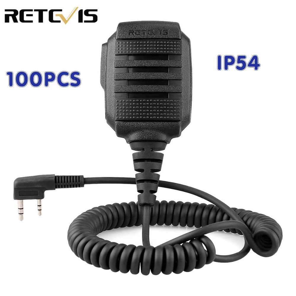100 Pcs Wholesale RS-114 IP54 Waterproof Speaker Microphone For Kenwood RETEVIS H777 RT3 RT22 RT81 Baofeng UV-5R Walkie Talkie