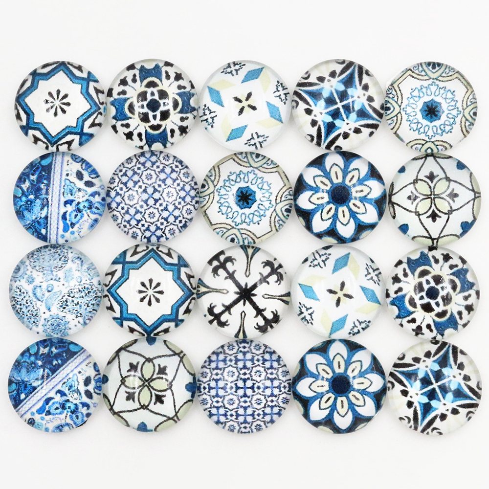 50pcs/Lot 12mm Photo Glass Cabochons Mixed Color Cabochons For Bracelet Earrings Necklace Bases Settings-E5-04