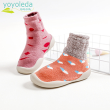 Shoe Sock Girls Baby-Boys with Rubber-Sole Soft Comfort Toddler Style Warm Cotton Fashion