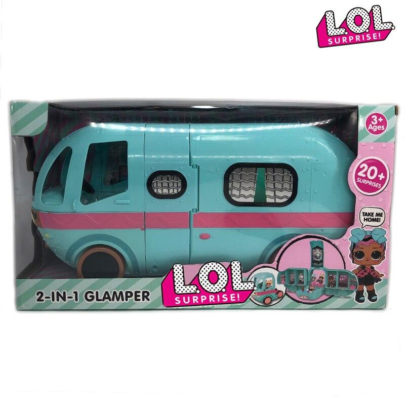 L.O.L. Poupées Surprise Original glamour 2-en-1 jouets Bus poupées détachables lols maison anime figures modèle fille cadeaux d'anniversaire