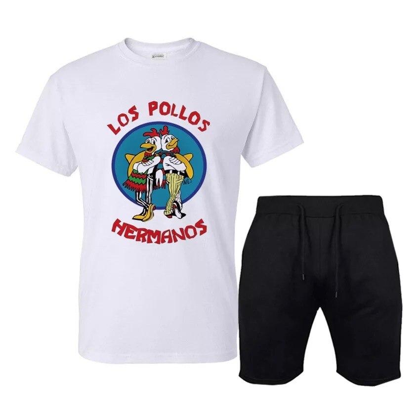 Hot Sales Men Sports Leisure Suit-Style Printed Round Neckline T-shirt Short Shorts