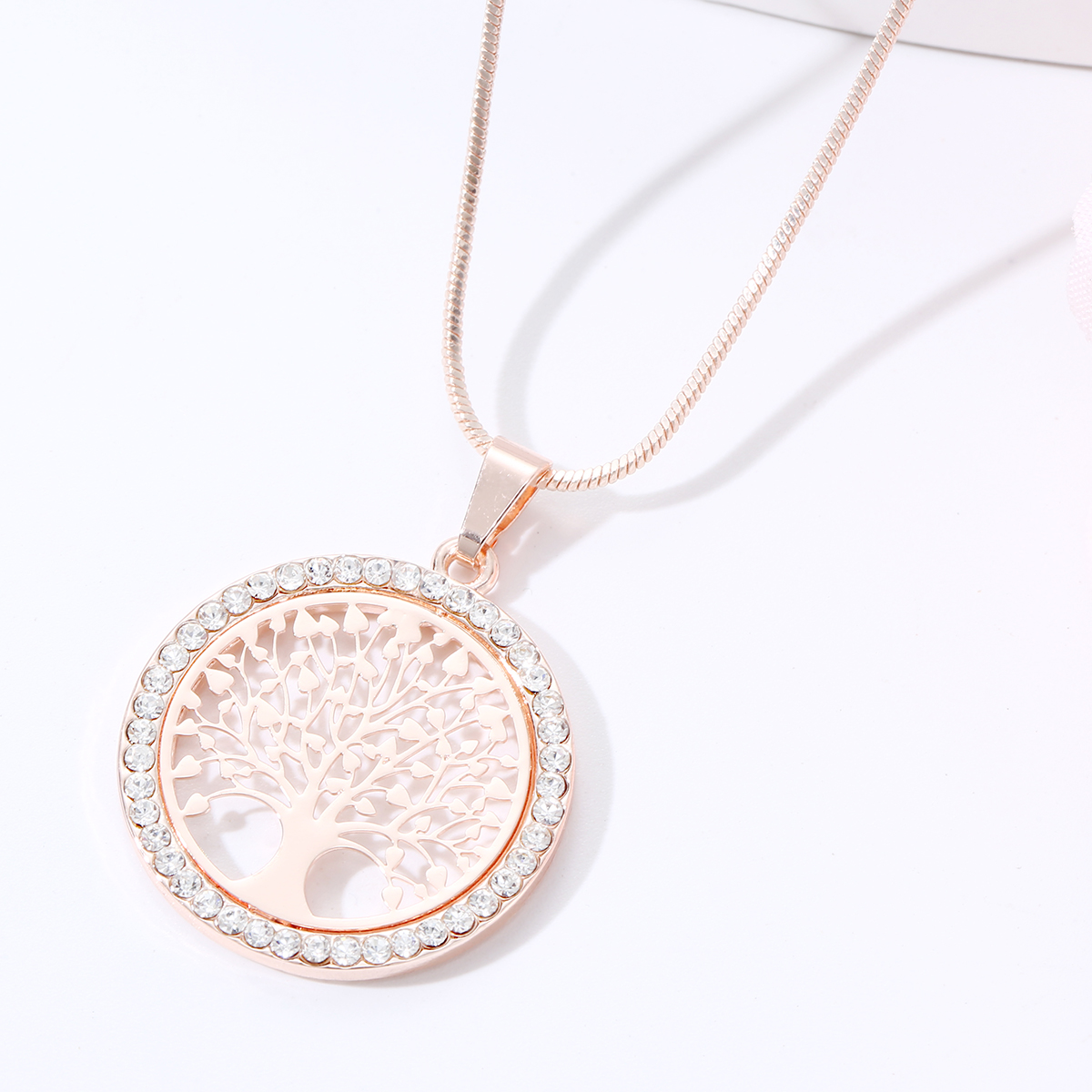 Hot Tree of Life Crystal Round Small Pendant Necklace Gold Silver Color Bijoux Collier Elegant Women Jewelry Gifts Dropshipping 3