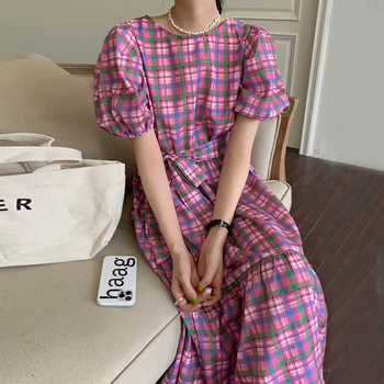 [EWQ] Korea Chic Casual Fashion New O Neck Robe Plaid Loose Tie Puff Sleeve Ruffle Midi Dress Trendy Women Summer 2021 E838 1