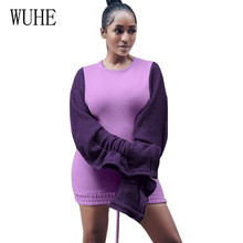 купить WUHE Plush Hollow Out Wooden Ear Sleeves Contrast Color Stitching Drawstring Sexy Dress Women Casual Elegant Bodycon Short Dress по цене 1204.28 рублей