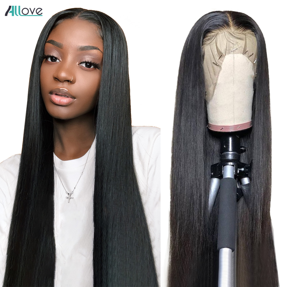Allove Bone Straight Lace Front Human Hair Wigs for Black Women Transparent 13x4 Lace Frontal Wig Brazilian Hair Closure Wig