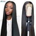 Allove с прямыми Синтетические волосы на кружеве человеческих волос парики для чернокожих Для женщин прозрачный 13x4 Синтетические волосы на кр...