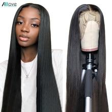Allove hueso recto frente de encaje pelucas de cabello humano para las mujeres negras transparente 13x4 peluca Frontal de encaje de pelo brasileño cierre peluca