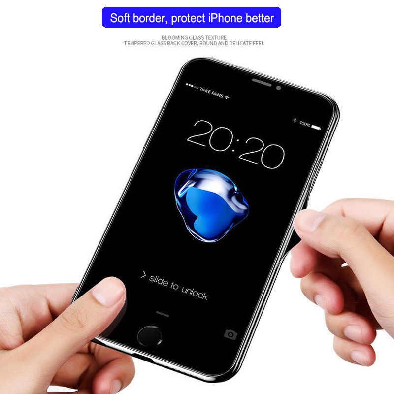 Mewah Kaca Tempered Plating Cermin Case PENUTUP UNTUK iPhone 7 11 Pro Max X XR X 6 S 8 X max Hitam Glossy Carcasas Tritone Etui