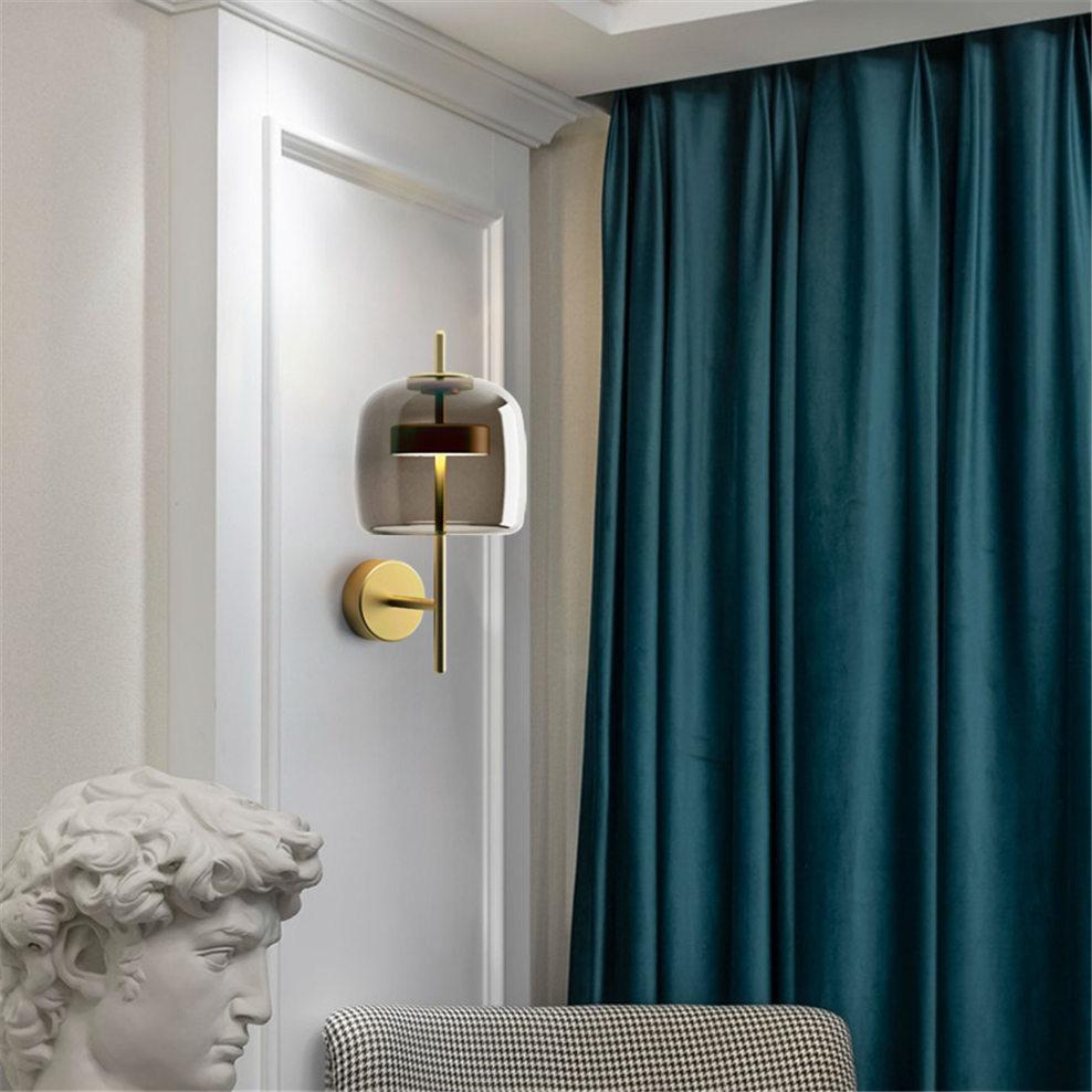 Nordique danois design gris verre applique de luxe villa LED de décoration pour la maison couloir escalier luminaire chambre table de chevet lampes - 6