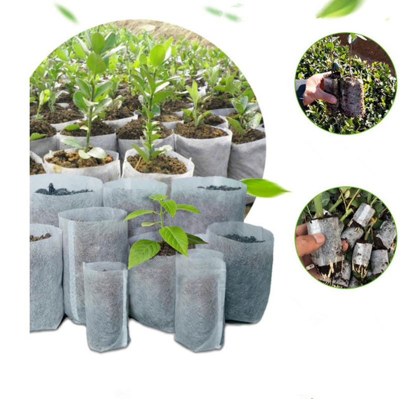 100pcs Non Woven Fabric Bags Nursery Pots Seedling Raising Bags