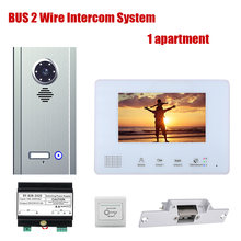 7 Inch Apartment 1/2/3/4 Units BUS 2 Wire Video Door Phone Intercom Systems Kit for Electronic Door Lock Home Night Vision