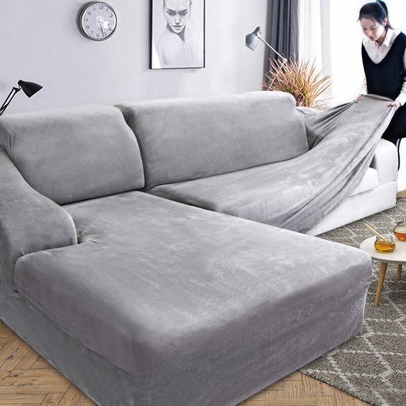 Funda de sofá en forma de L de felpa de terciopelo para sala de estar, muebles elásticos, funda de sofá, Diván, funda completa para sofá elástica