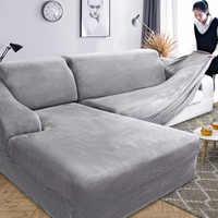 Samt Plüsch L Förmigen Sofa Abdeckung für Wohnzimmer Möbel Elastischen Couch Schutzhülle Chaise Longue Ecke Sofa Abdeckung Stretch