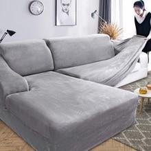 Funda de sofá en forma de L de felpa de terciopelo para sala de estar muebles elásticos funda de sofá diván Longue funda completa para sofá Stretch