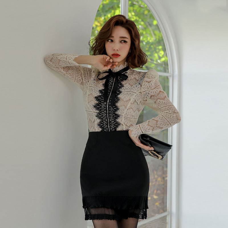 Set 2019 Autumn And Winter New Products Debutante WOMEN'S Dress Lace Upper Garment + Slim Fit Sheath Skirt Two-Piece Set
