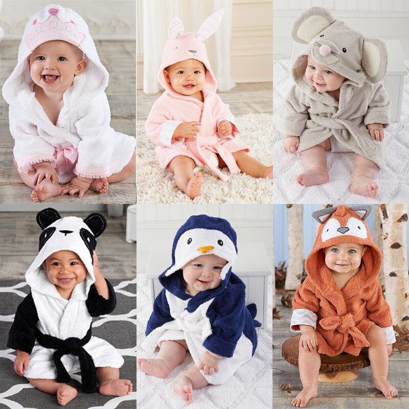 0-5T Cute Baby Bath Towel Coral Fleece Blanket Infant Hooded Wrap Bathrobe Animal Kids Hooded Bath Towel Infant Bathing Blanket