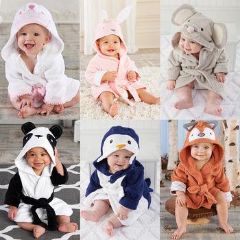 0-5T Cute Baby Bath Towel Coral Fleece Blanket Infant Hooded Wrap Bathrobe Animal Kids Hooded Bath Towel Infant Bathing Blanket