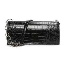 Black Woman Square Underarm Bag European American Style PU Crocodile Pattern Electroplated white ochre